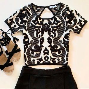 Lucy Paris Baroque Print Knit Crop Top XS